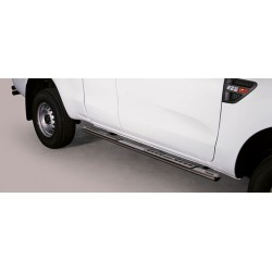 TUBES MARCHE PIEDS OVALE INOX DESIGN FORD RANGER 2012- SUPER CABINE - accessoires 4x4