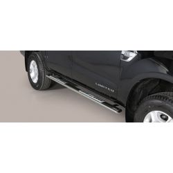 TUBES MARCHE PIEDS OVALE INOX DESIGN FORD RANGER 2016- double cabine - accessoires 4x4 MISUTONIDA