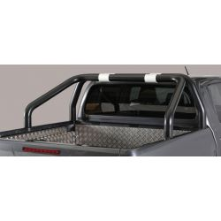 ROLL BAR INOX THERMOLAQUE NOIR DOUBLE TUBES D.76 TOYOTA HI-LUX 2016- DOUBLE CAB.