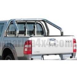 ROLL BAR INOX DOUBLE TUBE 76 FORD RANGER 2007- (fixation bord benne)